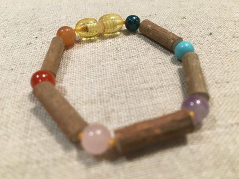 Hazelwood Bracelet - 6 To 7 Inch Hazelwood Eczema Colic Reflux GERD Pink Rose Quartz Amethyst Green Blue Turquoise Crysocolla Or Baltic Amber Mixed Pre-Teen Teen Bracelet Or Baby Anklet