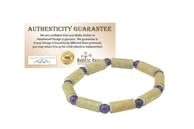 Hazelwood Bracelet - 7 Inch Hazelwood Bracelet Eczema Gluten Intolerances Acid Reflux Heart Burn Purple Amethyst For Pre-Teen, Teen, Adult