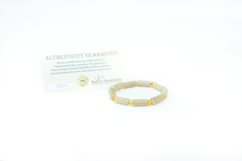 "Hazelwood Bracelet - 8"" Hazelwood (For Heart Burn, Acid Reflux, Eczema) Raw Honey Baltic Amber Bracelet For Adult, Teenager"