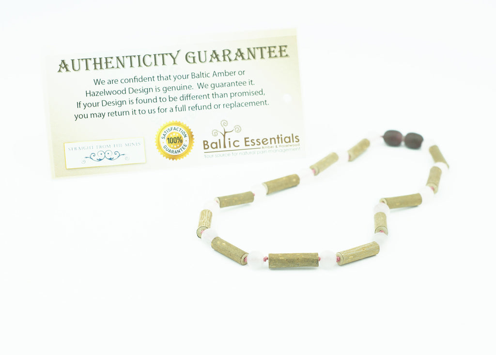 Hazelwood Necklace - 14 Inch Hazelwood (For Heart Burn, Acid Reflux, Eczema) Necklace For Pre-Teen With Pink Rose Quartz
