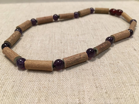 Hazelwood Necklace - 14 Or 17 Inch Hazelwood Necklace Eczema Acid Reflux Heart Burn Ulcers Purple Amethyst For PreTeen, Child, Teen, Adult