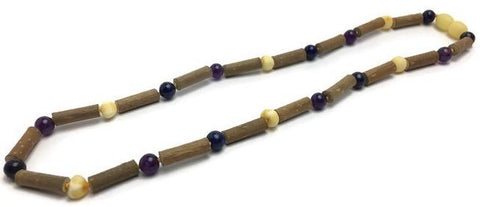 Hazelwood Necklace - 16 Inch Hazelwood Necklace Eczema Acid Reflux Heart Burn Ulcers Purple Amethyst For PreTeen, Child, Teen, Adult Blue Lapis Raw Milk