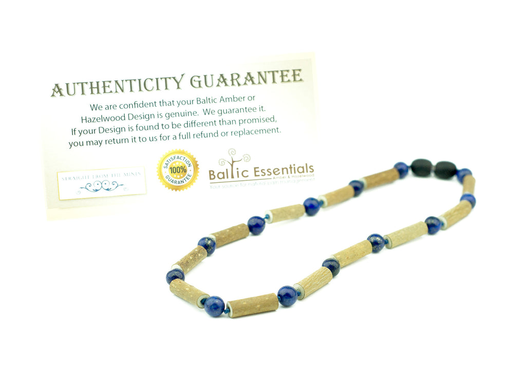 Hazelwood Necklace - ADHD Acid Reflux 14 Inch Hazelwood (For Heart Burn, Acid Reflux, Eczema) Mixed With Blue Lapis Lazuli (adult ADHD, Anxiety, Stress, Depression) Necklace For Pre-Teen, Post-toddler, Big Kid, And Some Tiny Adults