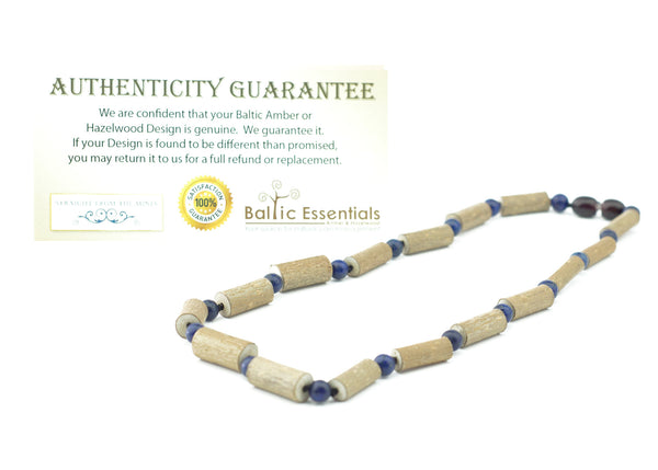 Hazelwood Necklace - ADHD Acid Reflux 16 17 19 Inch Hazelwood (For Heart Burn, Acid Reflux, Eczema) Polished Mixed With Blue Lapis Lazuli (adult ADHD, Anxiety, Stress, Depression) Necklace For Adult, Teenager