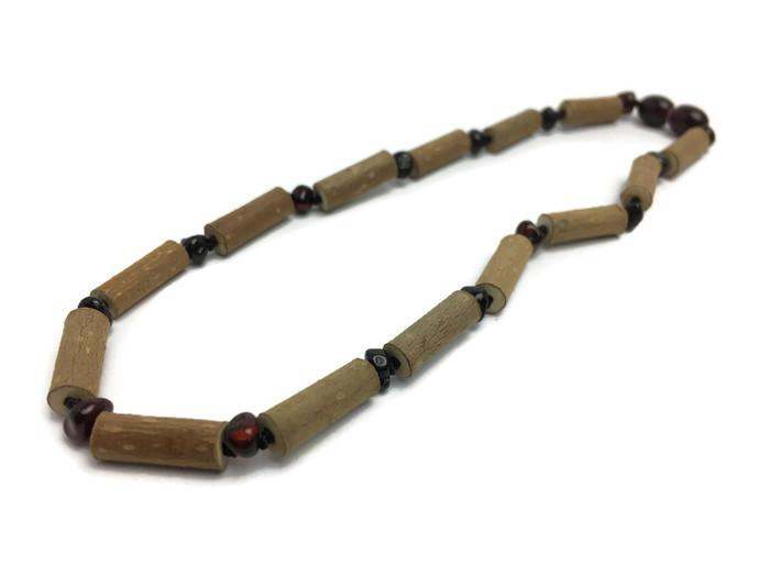 Hazelwood Necklace - Polished 11 Inch Cherry Hazelwood GERD Colic Eczema Polished Amber Necklace