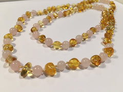 Necklace SET Baltic Amber Polished Lemon Pink Rose Quartz 16 And 12.5 Inch Necklace Baby Toddler Teething AND Teen Or Adult Arthritis Carpal Tunnel Sciatica Back Pain Cramps