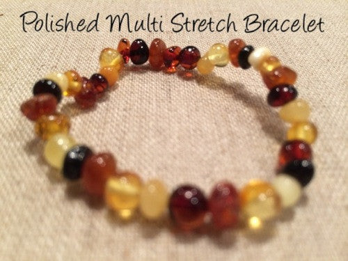 Polished 5.5 Inch Multi Stretch Baltic Amber Bracelet For Baby, Infant, Toddler, Big Kid, Child