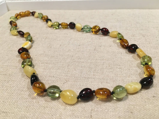Natural Baltic Amber Rainbow Necklace Polished Beads Dark Bright Color 18 inches