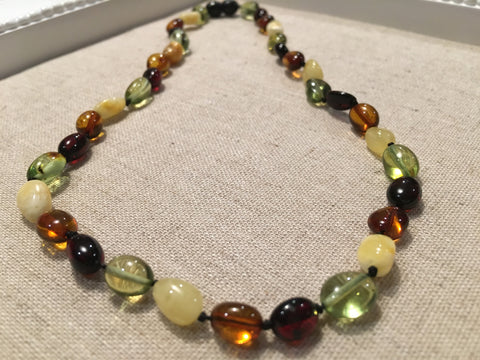 Polished Caribbean And Baltic Amber 18 Inch Multi Color Necklace Green White Milk Cherry Honey For Adult And Teen
