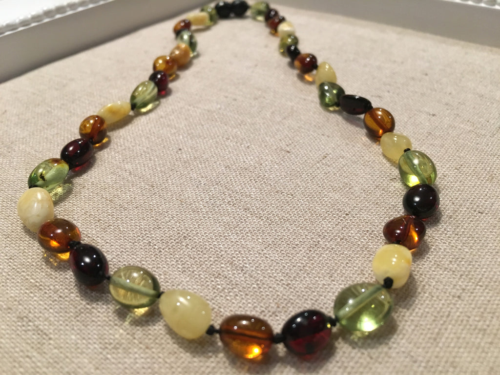 Polished Caribbean And Baltic Amber Multi Color Necklace Green White Milk Cherry Honey For Newborn Baby, Infant, Toddler, Big Kid. 11 Or 12.5 Inch
