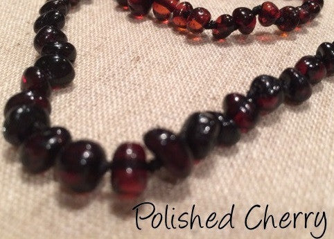 Polished Cherry Baltic Amber Necklace For Baby, Infant, Toddler, Big Kid.