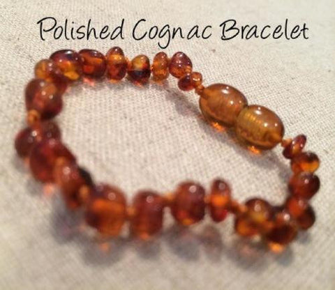 Polished Cognac Baltic Amber Bracelet For Baby, Infant, Toddler, Big Kid
