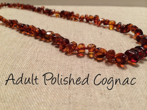 Polished Cognac Baltic Amber Necklace For Big Kid, Child, Or Adult 17 Inch