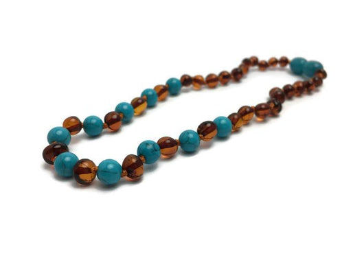 Polished Cognac Turquoise Baltic Amber Necklace For Baby, Infant, Toddler, Big Kid.