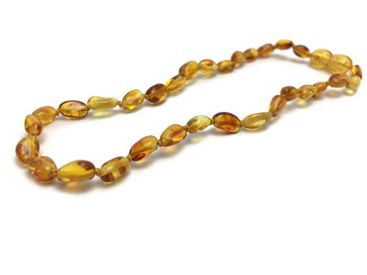 Polished Honey Bean 11 Baltic Amber Necklace Teething Fever Fussiness