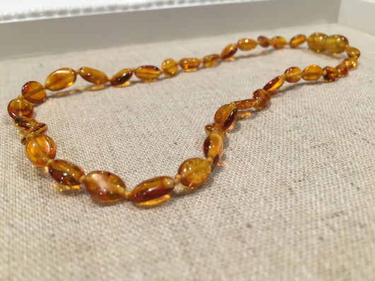 Polished Honey Bean 11 Inch Screw Clasp Baltic Amber Necklace Teething Baby Fever Colic Fussiness Drooling Red Cheeks For Baby, Infant, Newborn Through About 1 Year.