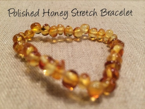 Polished Honey Stretch Baltic Amber Bracelet For Baby, Infant, Toddler, Big Kid