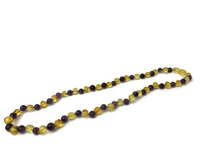 Polished Lemon Amethyst 17 Or 18 Inch Baltic Amber Necklace