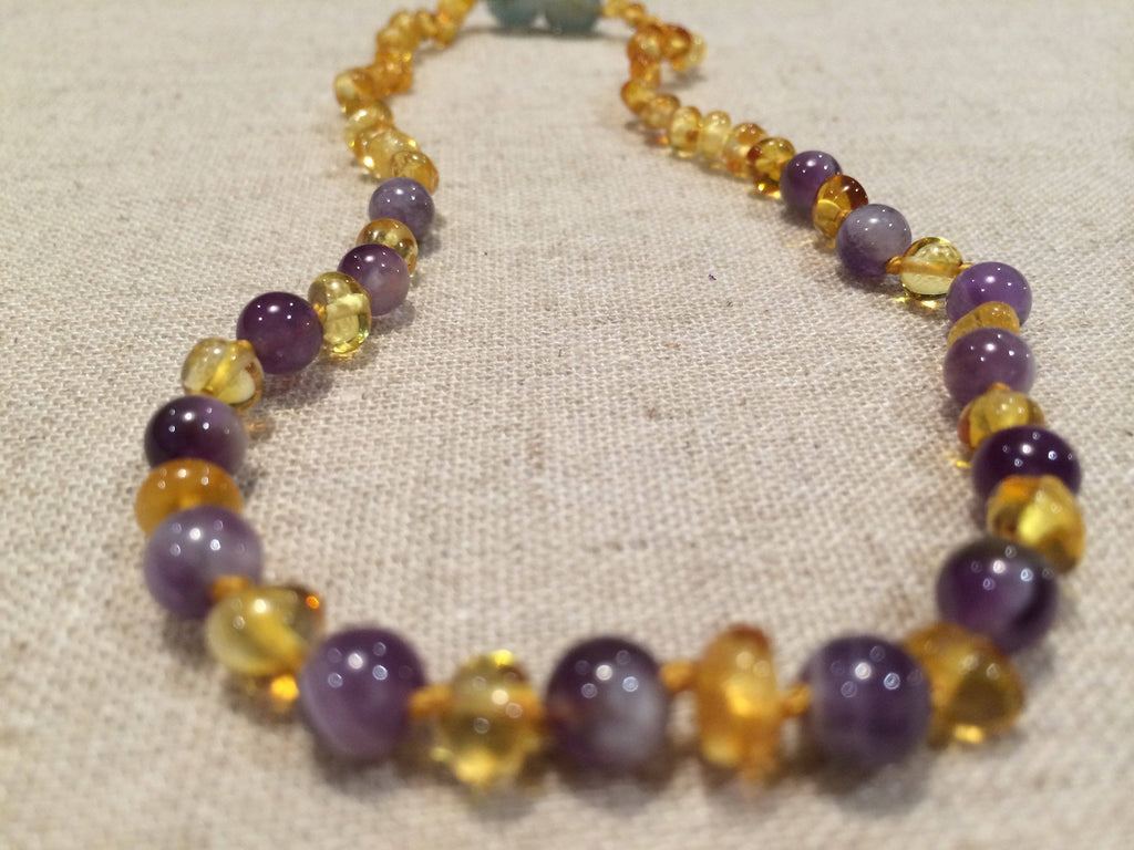 Polished Lemon Amethyst 17 Or 18 Inch Baltic Amber Necklace For Big Kid, Child, Or Adult