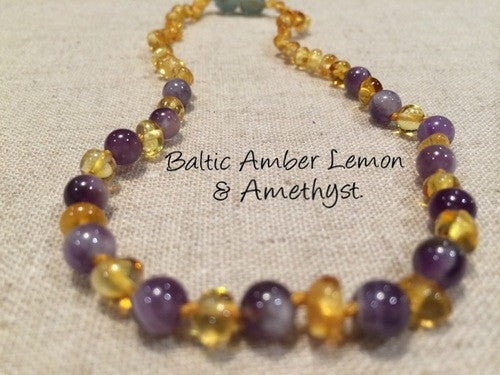Polished Lemon Amethyst Baltic Amber Necklace For Baby, Infant, Toddler, Big Kid.