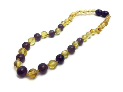 Polished Lemon Amethyst Baltic Amber Necklace For Newborn Baby, Infant, Toddler