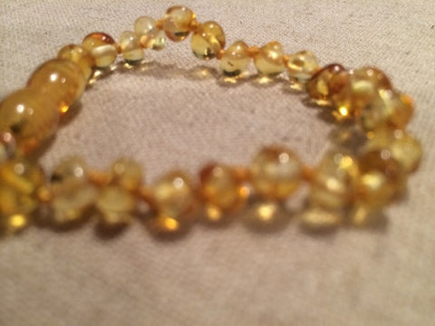 Polished Lemon Baltic Amber Bracelet For Baby, Infant, Toddler, Big Kid