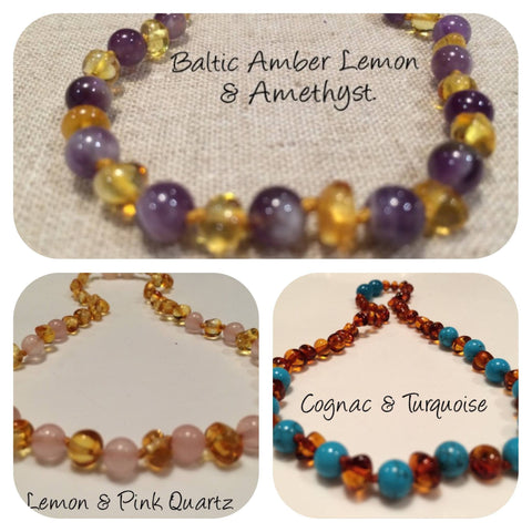 Polished Lemon Pink Quartz Amethyst Or Turquoise Cognac Baltic Amber Necklace For Newborn Baby, Infant 11""