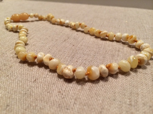 Polished Milk Baltic Amber Necklace for Baby, Toddler, Big Kid. 1