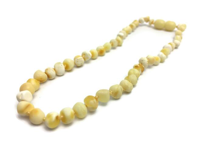 Polished Milk Baltic Amber Necklace For Baby, Toddler, Big Kid.