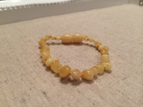 Polished Milk Butter Baltic Amber Bracelet For Baby, Infant, Toddler, Big Kid