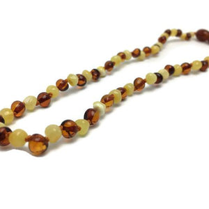 Polished Mlk & Cognac Baltic Amber Necklace