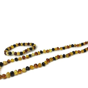 "Polished Multi 21 Inch SET with 7 8"" bracelet Baltic Amber Necklace"