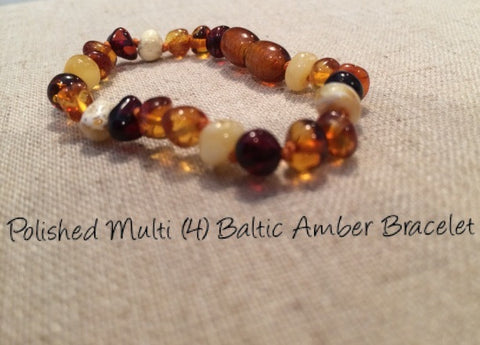 Polished Multi Baltic Amber Bracelet For Baby, Infant, Toddler, Big Kid