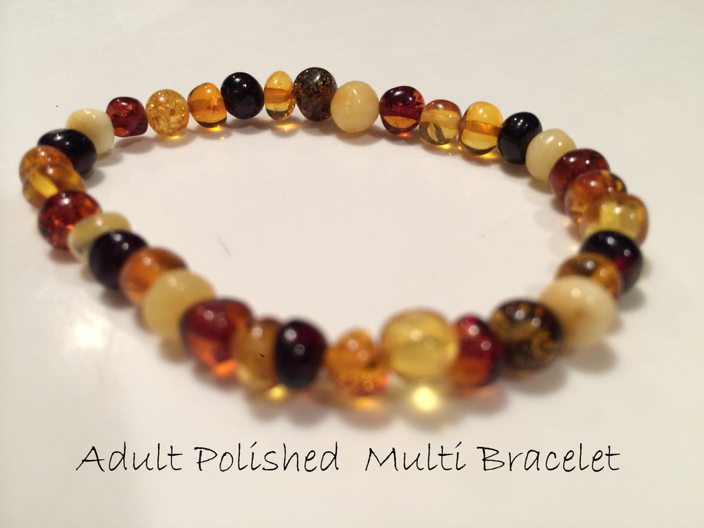 Polished Multi Baltic Amber Bracelet For Big Kid, Child, Or Adult Arthritis Carpal Tunnel