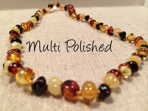 Polished Multi Baltic Amber Necklace For Baby, Infant, Toddler, Big Kid.