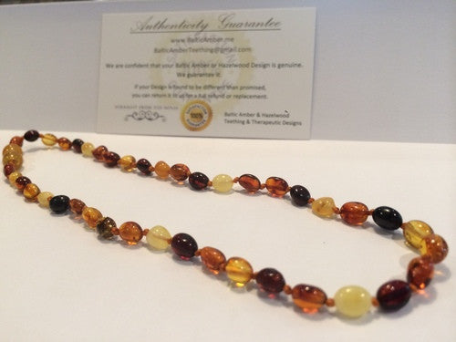 Polished Multi Bean Baltic Amber Necklace For Baby, Infant, Toddler, Big Kid.
