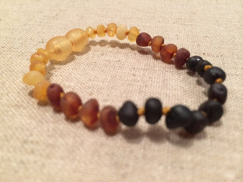Raw 5.5 Inch Rainbow Baltic Amber Bracelet For Baby, Infant, Toddler, Big Kid, Child