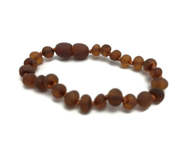 Raw 5.5 Inch Unpolished Cognac Baltic Amber Bracelet