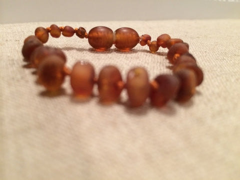Raw 5.5 Inch Unpolished Cognac Baltic Amber Bracelet For Baby, Infant, Toddler, Big Kid, Child