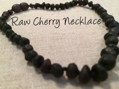 Raw Cherry Baltic Amber Necklace For Baby, Infant, Toddler, Big Kid.