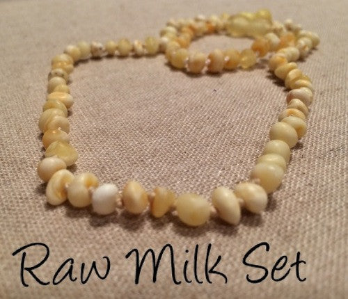 Raw Milk SET Baltic Amber Necklace For Baby, Infant, Toddler, Big Kid.