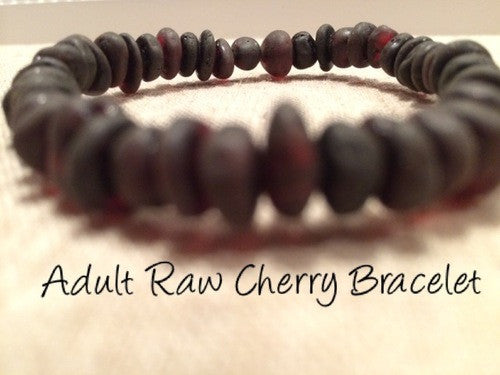 Raw Unpolished Cherry Baltic Amber Bracelet For Big Kid, Child, Or Adult