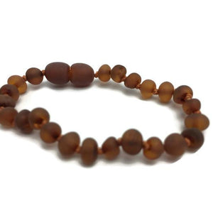 Raw Unpolished Cognac Baltic Amber Bracelet for Baby, Infant, Toddler, Big Kid, Child