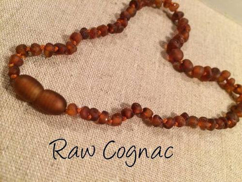 Raw UnPolished Cognac Baltic Amber Necklace For Baby, Infant, Toddler, Big Kid.