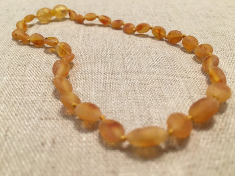 Raw UnPolished Honey Bean 11 Inch POP Clasp Baltic Amber Necklace Teething Fever Colic Fussiness Drooling Red Cheeks For Baby, Infant, Newborn Through About 1 Year.