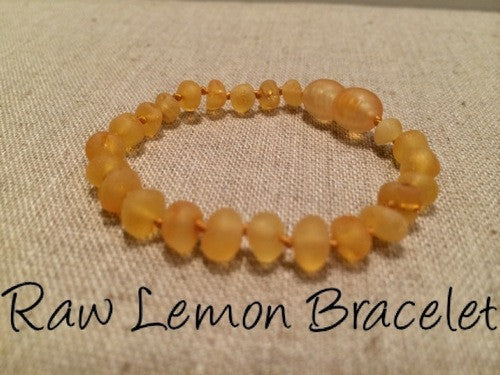 Raw Unpolished Lemon Baltic Amber Bracelet For Baby, Infant, Toddler, Big Kid, Child