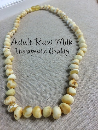 Raw Unpolished Milk Baltic Amber Necklace For Big Kid, Child, Or Adult