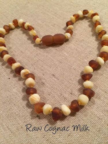 Raw UnPolished Milk Cognac Baltic Amber Necklace For Baby, Infant, Toddler, Big Kid.