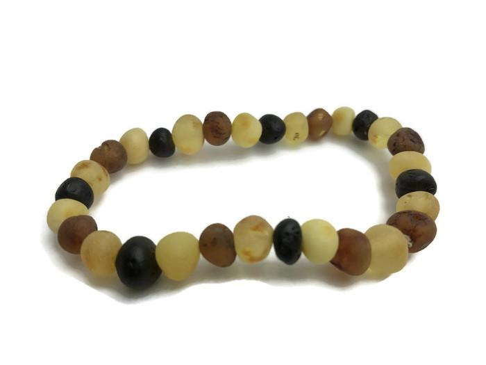 Raw Unpolished Multi Baltic Amber Bracelet For Big Kid, Child, Teen, Or Adult