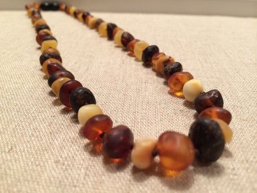 Raw Unpolished Multi Baltic Amber Necklace For Big Kid, Child, Or Adult